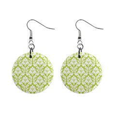 Spring Green Damask Pattern 1  Button Earrings