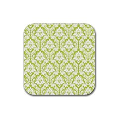 White On Spring Green Damask Drink Coasters 4 Pack (Square)