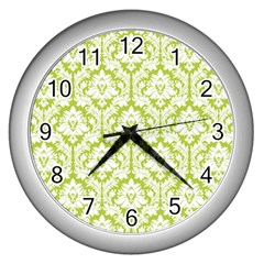 White On Spring Green Damask Wall Clock (Silver)