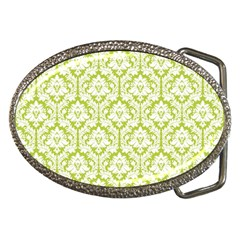 White On Spring Green Damask Belt Buckle (oval)