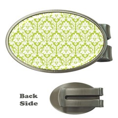 White On Spring Green Damask Money Clip (Oval)