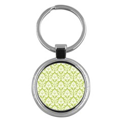 White On Spring Green Damask Key Chain (round)