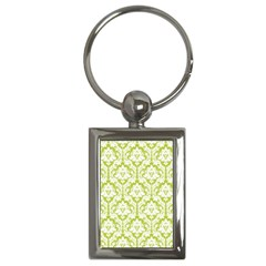 White On Spring Green Damask Key Chain (Rectangle)