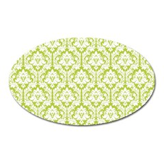 White On Spring Green Damask Magnet (Oval)