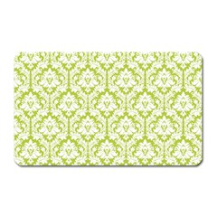 White On Spring Green Damask Magnet (Rectangular)