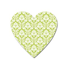 White On Spring Green Damask Magnet (Heart)