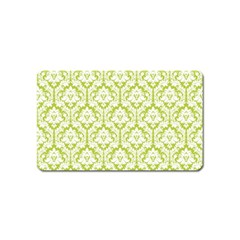 White On Spring Green Damask Magnet (Name Card)
