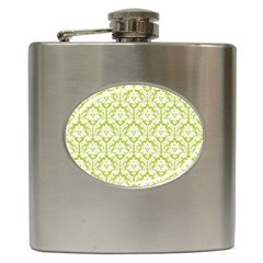 White On Spring Green Damask Hip Flask