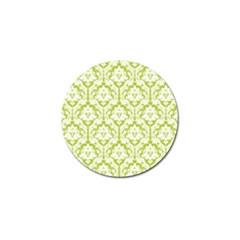 White On Spring Green Damask Golf Ball Marker 4 Pack