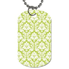 White On Spring Green Damask Dog Tag (Two-sided)
