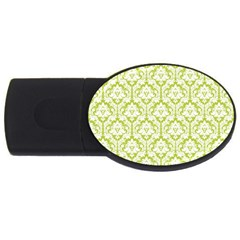 White On Spring Green Damask 2GB USB Flash Drive (Oval)