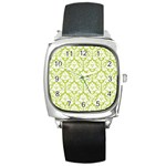 White On Spring Green Damask Square Leather Watch Front