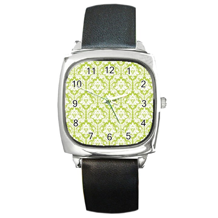 White On Spring Green Damask Square Leather Watch