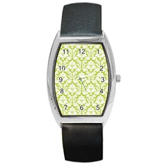 White On Spring Green Damask Tonneau Leather Watch