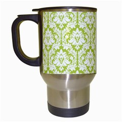 White On Spring Green Damask Travel Mug (white)
