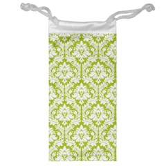 White On Spring Green Damask Jewelry Bag