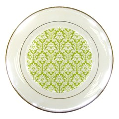 White On Spring Green Damask Porcelain Display Plate