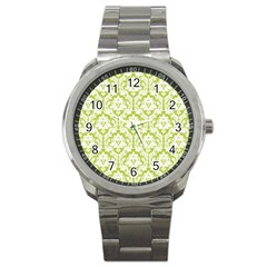 White On Spring Green Damask Sport Metal Watch