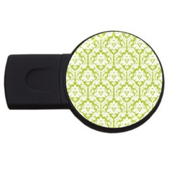 White On Spring Green Damask 4gb Usb Flash Drive (round)