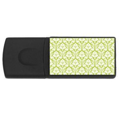 White On Spring Green Damask 4GB USB Flash Drive (Rectangle)