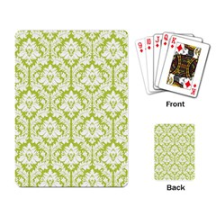 White On Spring Green Damask Playing Cards Single Design