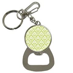 White On Spring Green Damask Bottle Opener Key Chain