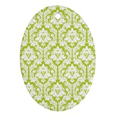 White On Spring Green Damask Oval Ornament (Two Sides)