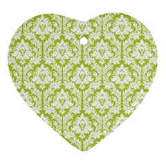 White On Spring Green Damask Heart Ornament (Two Sides)