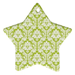 White On Spring Green Damask Star Ornament (two Sides)
