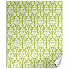 White On Spring Green Damask Canvas 8  X 10  (unframed)
