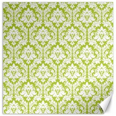 White On Spring Green Damask Canvas 12  X 12  (unframed)
