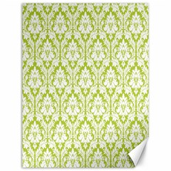White On Spring Green Damask Canvas 12  x 16  (Unframed)