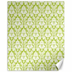 White On Spring Green Damask Canvas 16  X 20  (unframed)