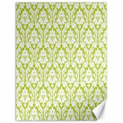 White On Spring Green Damask Canvas 18  x 24  (Unframed)