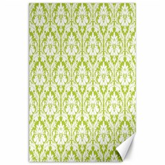 White On Spring Green Damask Canvas 24  x 36  (Unframed)