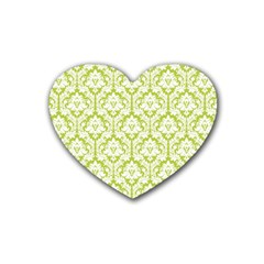 White On Spring Green Damask Drink Coasters 4 Pack (heart)