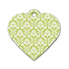 White On Spring Green Damask Dog Tag Heart (One Sided)