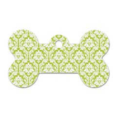 White On Spring Green Damask Dog Tag Bone (One Sided)