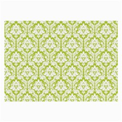 White On Spring Green Damask Glasses Cloth (Large, Two Sided)