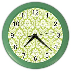 White On Spring Green Damask Wall Clock (color)
