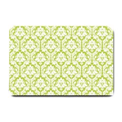 White On Spring Green Damask Small Door Mat