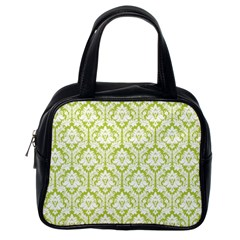 White On Spring Green Damask Classic Handbag (One Side)