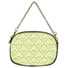Spring Green Damask Pattern Chain Purse (two Sides)
