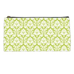 White On Spring Green Damask Pencil Case