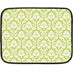 White On Spring Green Damask Mini Fleece Blanket (Two Sided)