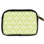 White On Spring Green Damask Digital Camera Leather Case Back