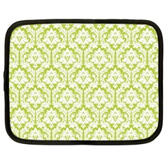 White On Spring Green Damask Netbook Sleeve (xl)