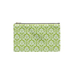 Spring Green Damask Pattern Cosmetic Bag (small)