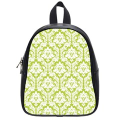 White On Spring Green Damask School Bag (small)