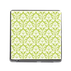 White On Spring Green Damask Memory Card Reader With Storage (square)
